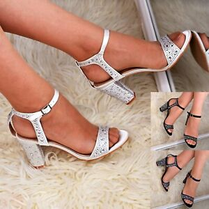 Womens-Satin-Mid-Block-Heel-Sandals-Ankle-strap-Rhinestone-Occasion-Shoes-Size