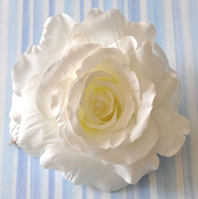 "5"" Creamy White Rose Silk Flower Large Hair Clip Wedding Bridesmaid"