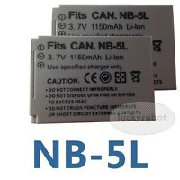 2X NB-5L Battery Pack for Canon IXUS 800 900TI SD890 SD950 SD990 SD900 HS