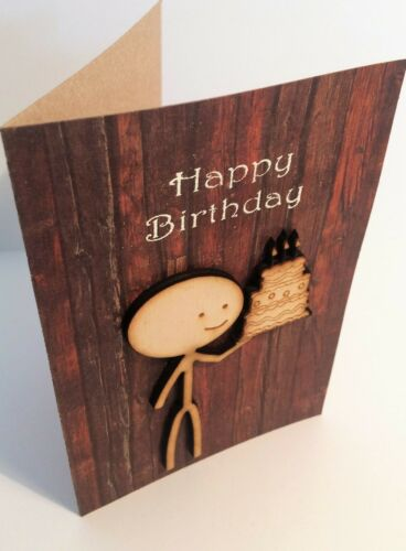 unique hand-made wooden celebration greetings card Happy Birthday /'Cake/'