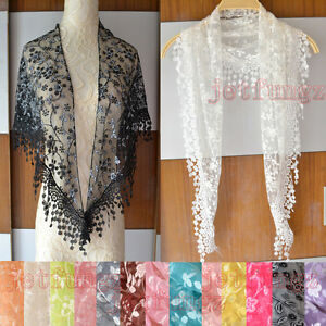 Lace-Sheer-Floral-Print-Triangle-Veil-Church-Mantilla-Scarf-Shawl-Wrap-Tassel-15