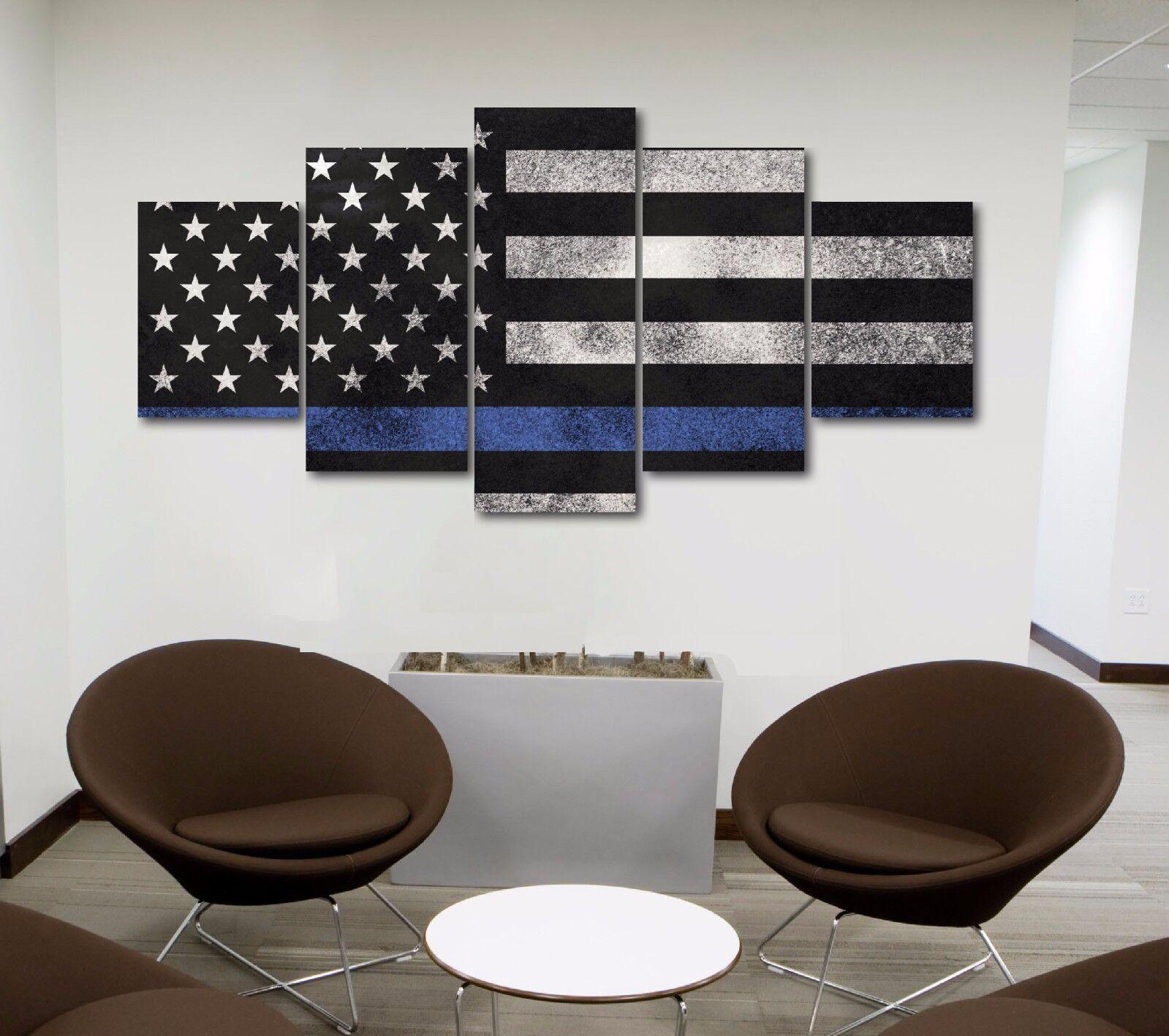 Large American Flag Police Blau Line Canvas Print Home Decor Wall High Quality