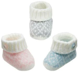 Newborn Baby Booties Knitted Diamond