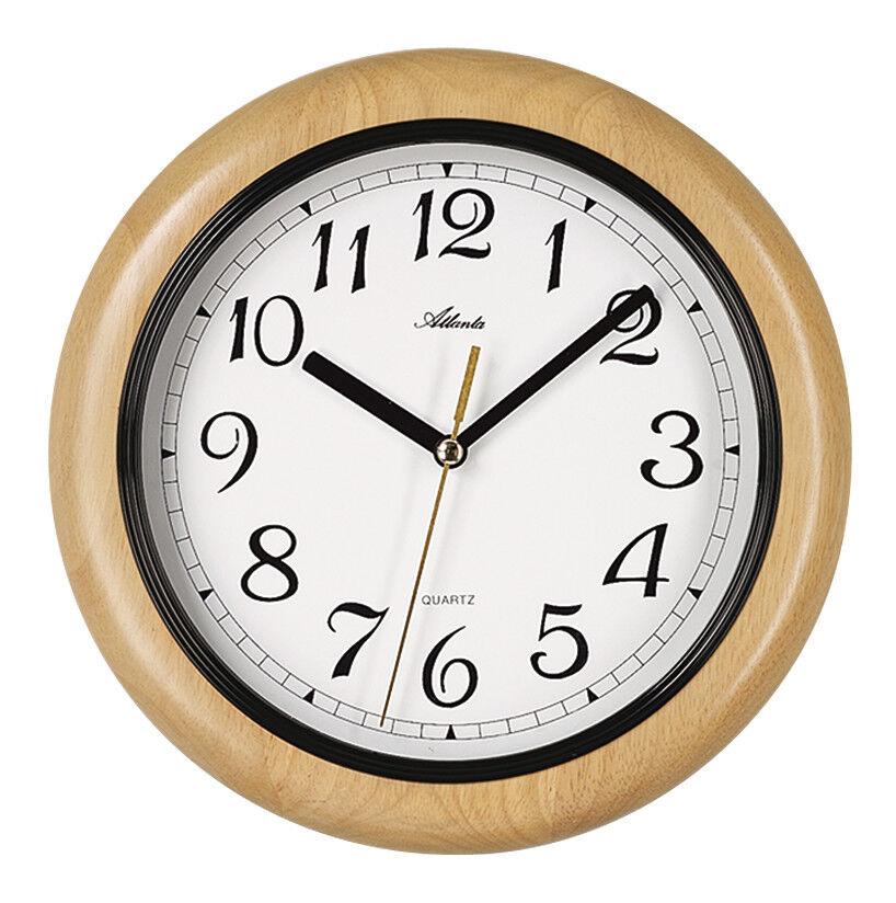Wanduhr Holz Buche Erle Massiv Rund Wohnzimmer Esszimmer Büro - - - Atlanta 4023-30 cb5397