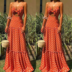 Women-Hollow-Out-Polka-Dot-Strappy-V-Neck-Long-Ball-Gown-Summer-Beach-Maxi-Dress