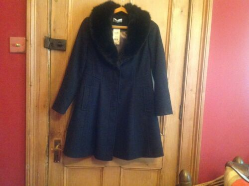 Coat £79 New Fur Collar With Faux Rrp Wallis 10 Black Size gwfxqv