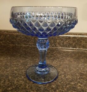 Vtg-Indiana-Glass-Ice-Blue-Diamond-Point-6-Footed-Pedestal-Compote-Candy-Dish