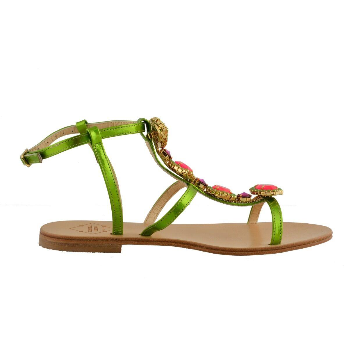 Emanuela Caruso Caruso Caruso Capri femme pierres Décoré Sandales Plates Chaussures Taille 5 6 7 9 214511