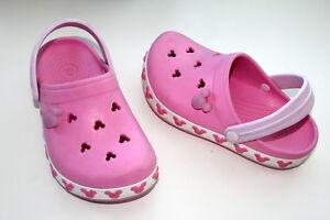 Crocs Mickey Minnie Mouse Light Up Pink Girl Sz 2 Slip Ons