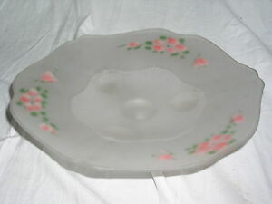 Vintage-Lancaster-KAY-WHITE-FROSTED-w-Pink-Floral-Pattern-3-Toed-10-034-Bowl