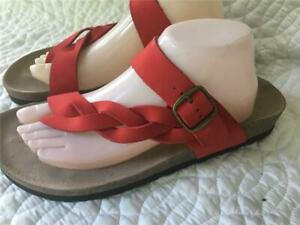 White-Mountain-034-Hansen-034-Red-Suede-Leather-Sandals-Women-039-s-Size-10