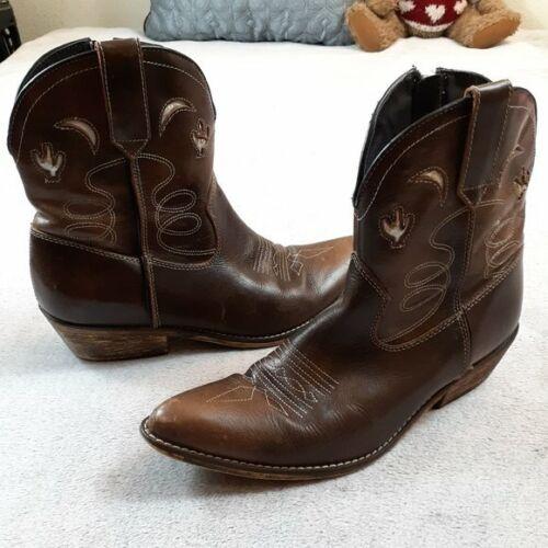 Dingo Leather Moon Cactus Cowboy Ankle Boots 9M