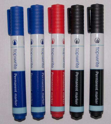 Permanent Marker in 3 Farben Permanentmarker Wasserfest Schwarz/Blau/Rot