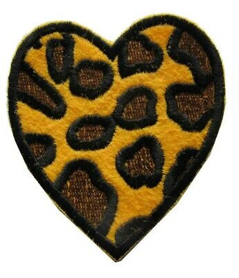 """#3980 2-1//4/"""" Gold,Black Heart Embroidery Iron On Applique Patch"""