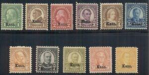 US #658-68 1¢ - 10¢ Complete set KANS Ovpts,  og, hinged F/VF, Scott $216.25