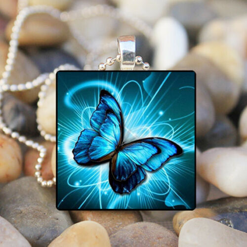blue Butterfly photo Cabochon Glass Silver Tile Chain Pendant Necklace Jewelry