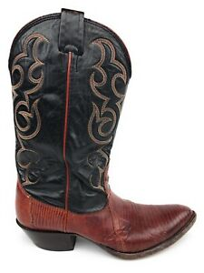 Nocona-Vtg-Boots-Usa-Brown-Black-Leather-Lizard-Exotic-Cowboy-Womens-Size-7-B