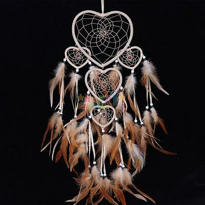 Handmade Dream Catcher With Feather Car orWall Hanging Ornament Craft Love Heart
