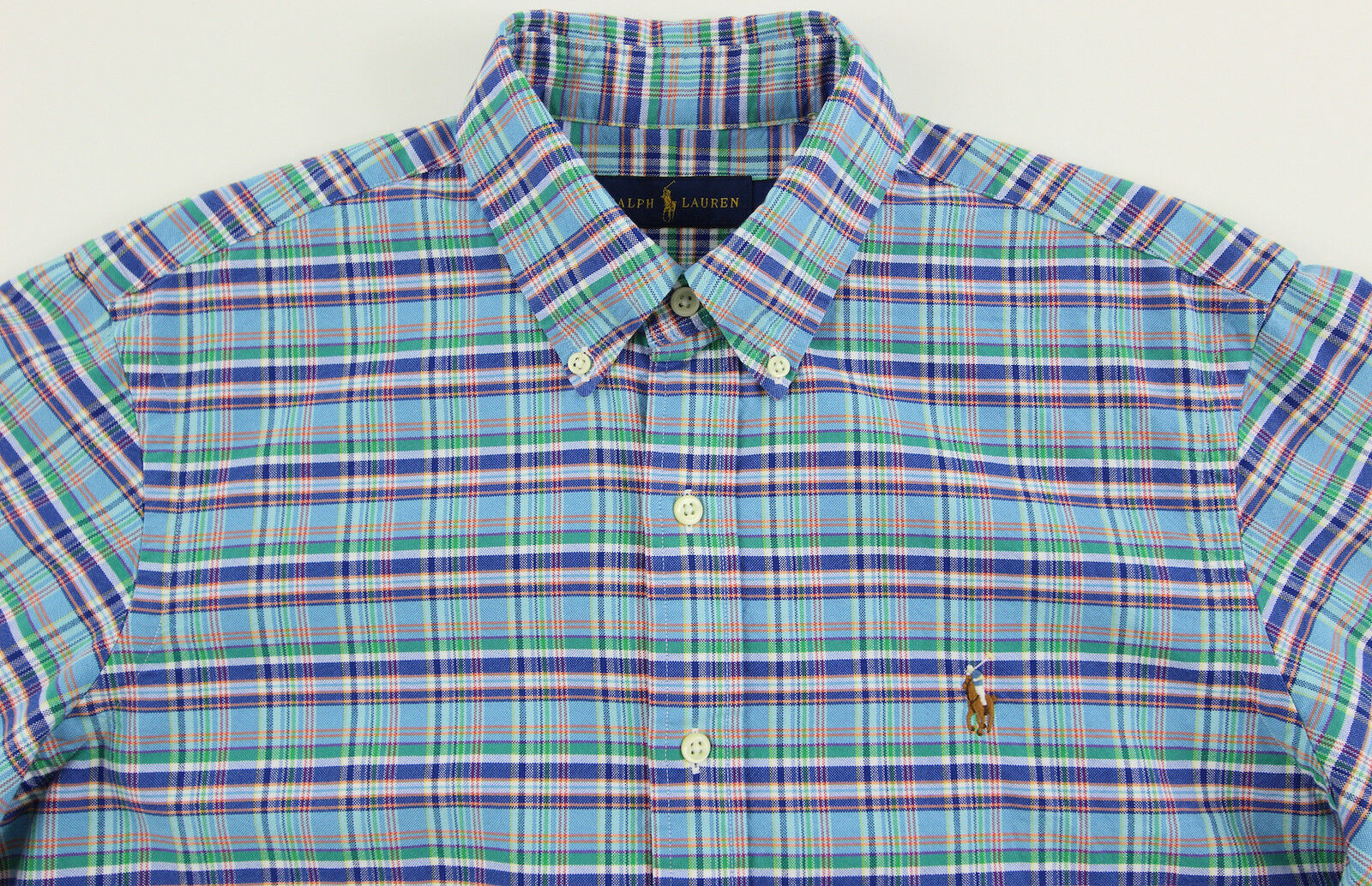 Men's RALPH LAUREN bluee colors Oxford Plaid Shirt 2XB 2X 2XL BIG NWT NEW Nice