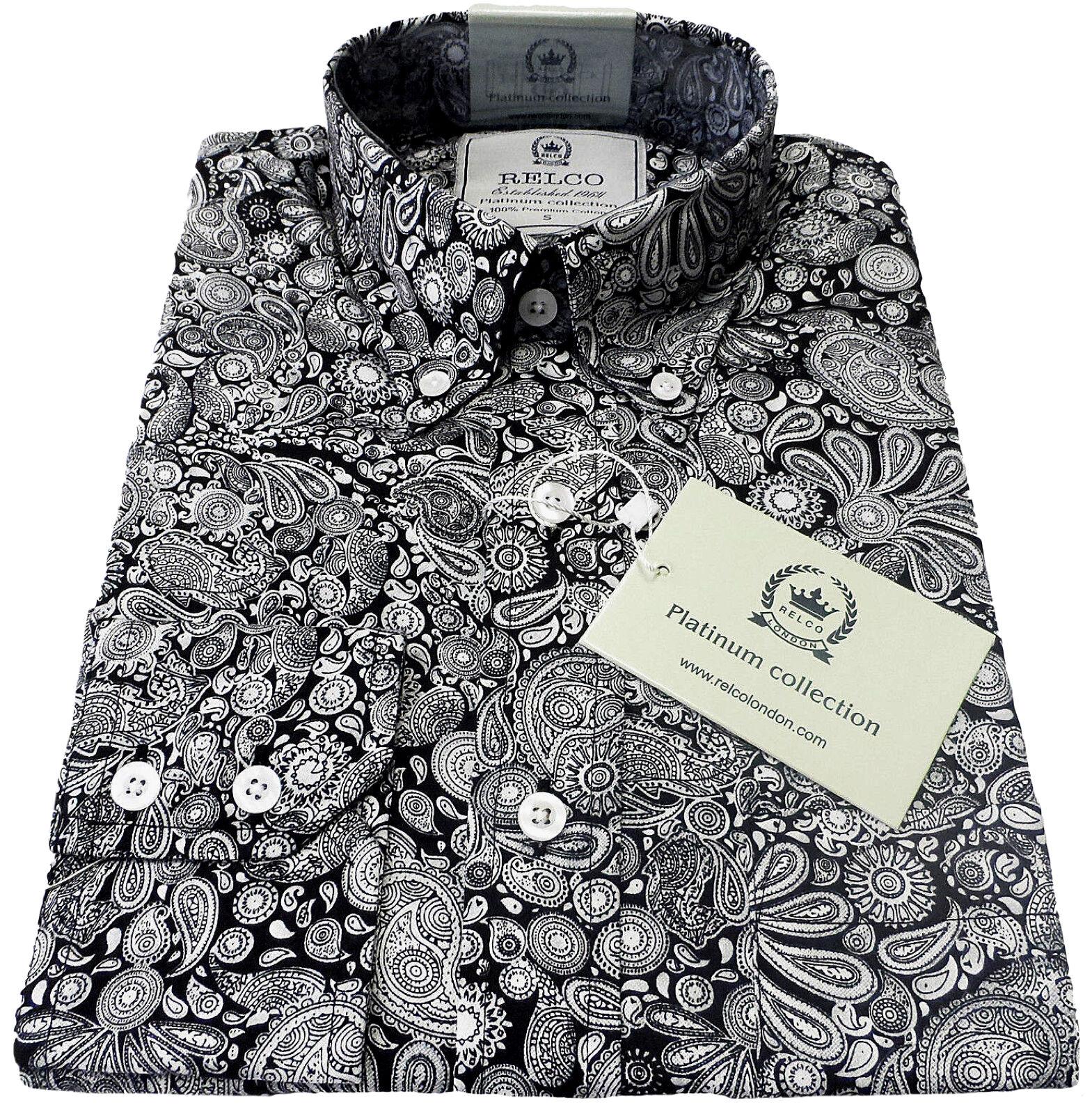Relco Herren Paisley Hemd Platin Kollektion Langärmlig Mod Retro Vintage Schwarz  | Primäre Qualität