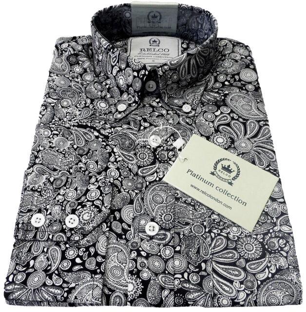 Relco Mens Platinum Collection Paisley Print Shirt Long Sleeve Vintage Mod Retro