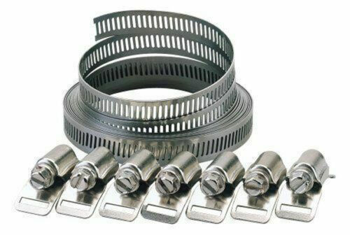 Adjustable Stainless Steel Jubilee Clip Hose Clamp Pipe Set 9pc Cut To Size New
