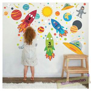 Image Is Loading Childrens Space Boy Wall Stickers Decals Nursery Boys