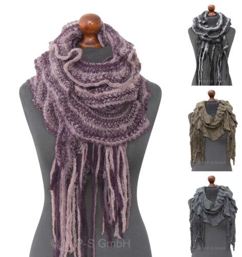 Vintage Winter Mode Schal gestrickt Strick Fransen Strickschal Damen