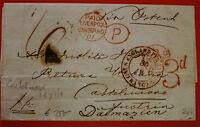England UK 1859 Free Stamps Letter from Liverpool Austria Consul to Dalmazia