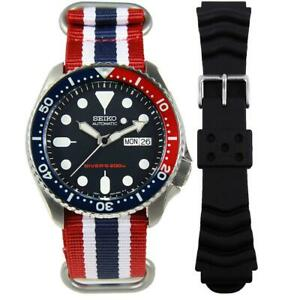 BEST BUY Seiko SKX009K1 SKX009 Diving Gents Automatic Watch + Addt'l NYLON Band