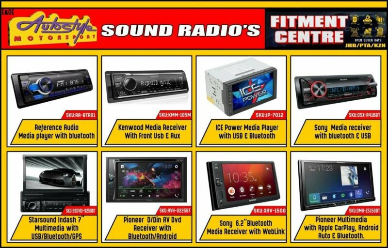 Media players, DVD units, CD MP3, Bluetooth, USB, APPLE IOS and ANDROID compatible units too