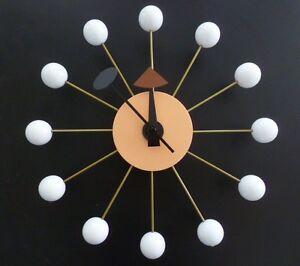 Classic-Modern-Design-White-Wood-Ball-Wall-Clock-George-Nelson-Replica