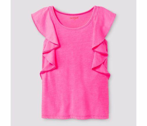 Girls/' Ruffle T-Shirt Cat /& Jack Bali Hot Pink Cap Sleeve Flutter Top Shirt