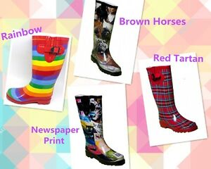 Wellies-Gum-Boots-Horses-Rainbow-Newspaper-Tartan-GumBoots-Size-5-6-7-8-9-10-11