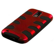 Red Black Fishbone Hard&Soft High Impact Case Samsung Galaxy S2 T989 (T-Mobile)