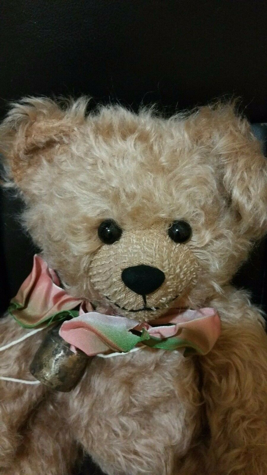 14  Rosie Bear by Tabby Bears with Antique Bell