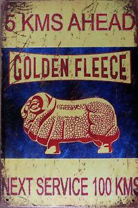 Golden-Fleece-Oil-Rustic-Vintage-Metal-Tin-Sign-Man-Cave-Garage-Shed-amp-Bar-AU