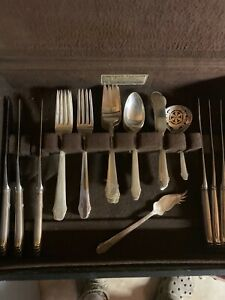 GORHAM-HUNT-CLUB-STERLING-SILVER-FLATWARE-SET-FOR-6-WITH-SERVERS-NO-MONO-039-S