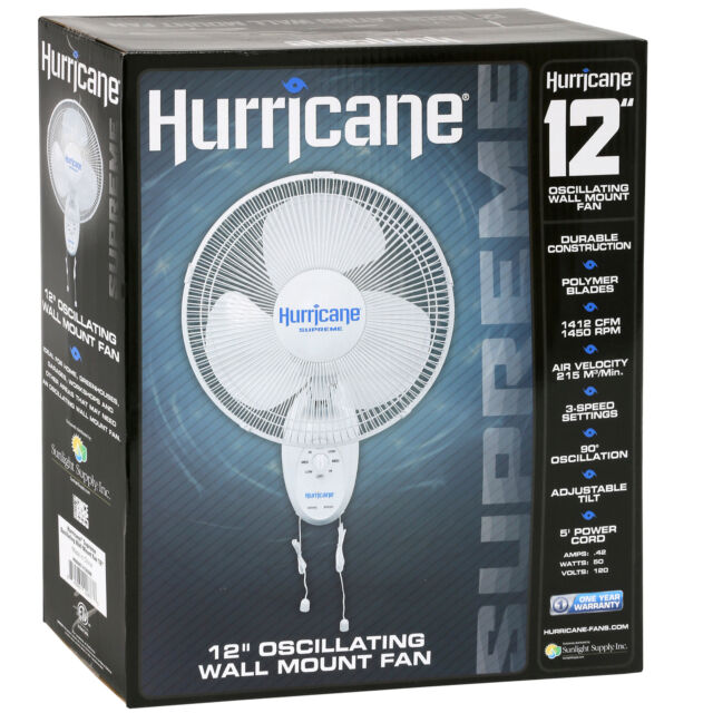 New Hurricane Supreme Oscillating Wall Mount Fan 12 Inch For Sale Online Ebay