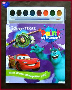 DISNEY-PIXAR-Paint-By-Number-Book-BUZZ-CARS-McQUEEN-NEMO-MONSTERS-Activity-NEW