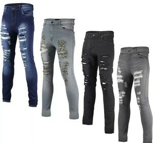 Mens-Skinny-Jeans-Super-Stretch-DISTRESSED-Cutaway-Extreme-Frayed-Rip-Denim