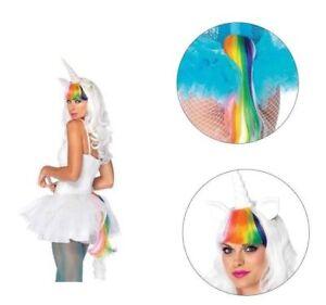 2pc Lgbtqa Unicorn White Wig And Rainbow Unicorn Tail Kit