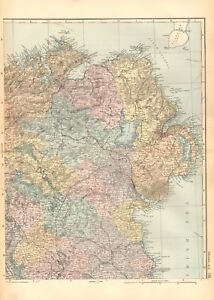 Dundalk Map Of Ireland.1892 Large Victorian Map Ireland North East Londonderry Belfast