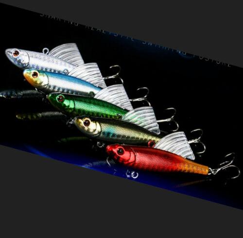 5PCS Winter Ice Fishing Lure VIB Bait Pencil Wobblers Bass Walleye Jig Wing Salt