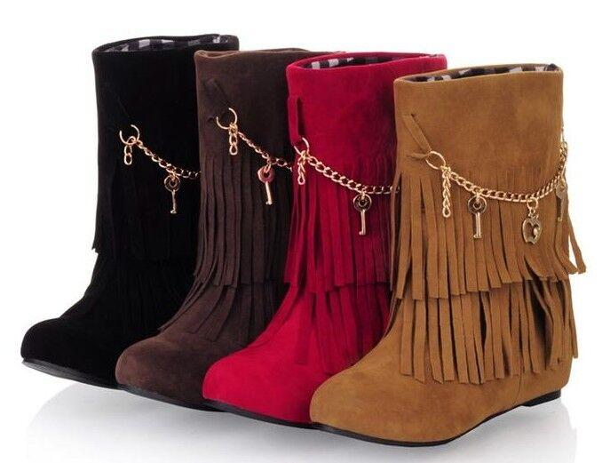 Botines botas zapatos de tacón mujer 3 cm como piel cómodo flecos 9073