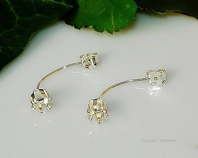 New!! 6mm Round Snap Tite Sterling Silver Drop Earring Back Settings (6 Prong)