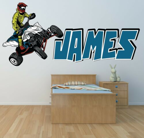 Personalised quad bike off road wall art decal sticker boy girl nursery mural large 750mm x 346mm