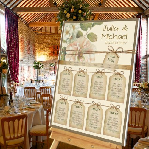 Personalised Wedding TABLE SEATING PLAN//WELCOME SIGN VINTAGE TAGS