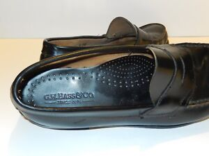 g-h-bass-mens-shoes-weejuns-black-leather-size-10-d-penny-loafers