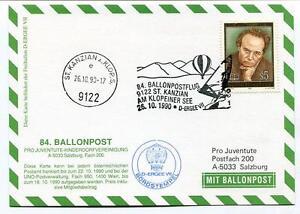 CréAtif 1990 Ballonpost N. 84 Pro Juventute Aerostato D-ergee Vii St. Kanzian Klopeiner Pas De Frais à Tout Prix